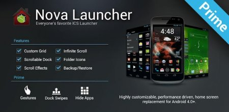 Nova Launcher Prime  Final  (Android 4.0+) / Materinova. Beta (Android 4.1+)